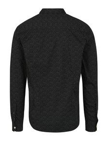 Čierna pánska vzorovaná slim fit košeľa s.Oliver