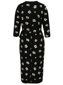 Čierne kvetované zavinovacie šaty s 3/4 rukávom Dorothy Perkins