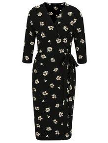 Černé květované zavinovací šaty s 3/4 rukávem Dorothy Perkins