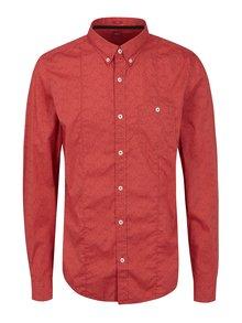 Červená pánska vzorovaná slim fit košeľa s.Oliver