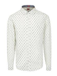 Krémová pánska vzorovaná slim fit košeľa s.Oliver
