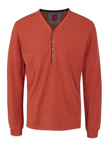 Oranžové pánské žíhané slim fit tričko s.Oliver