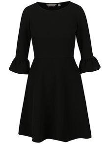 Čierne šaty s 3/4 zvonovým rukávom Dorothy Perkins Petite