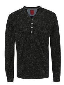Tmavě šedé pánské žíhané slim fit tričko s.Oliver