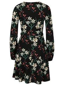 Rochie neagra cu print floral si cordon in talie -  Dorothy Perkins