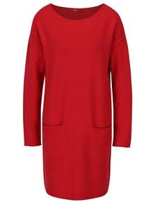 Červené svetrové šaty s kapsami s.Oliver