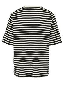 Krémovo–čierne pánske pruhované tričko Kings of Indigo Gopal