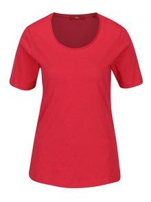Tmavoružové dámske tričko s krátkym rukávom s.Oliver
