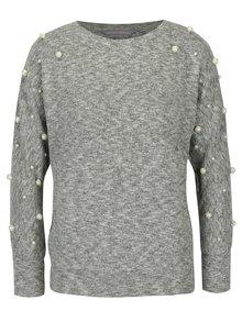 Svetlosivý melírovaný sveter s korálikmi Dorothy Perkins Petite