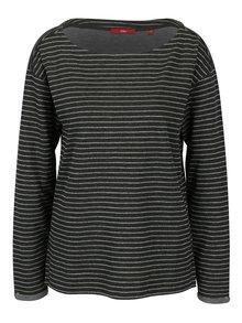 Bluza gri inchis cu decolteu si dungi pentru femei - s.Oliver