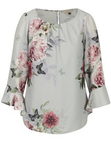 Bluza gri deschis cu volane si print floral - Billie & Blossom