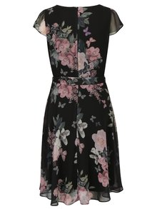 Čierne kvetované šaty so zaväzovaním v páse Billie & Blossom Tall