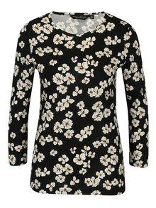Černé květované tričko s dlouhým rukávem Dorothy Perkins