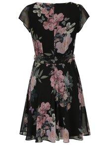 Čierne kvetované šaty so zaväzovaním v páse Billie & Blossom Petite