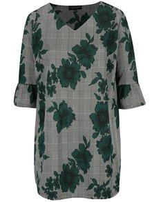 Zeleno-čierna kvetovaná voľná tunika Dorothy Perkins Curve