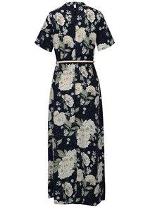 Tmavomodré kvetované maxišaty s opaskom Dorothy Perkins