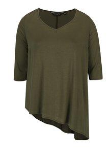 Kaki voľné asymetrické tričko Dorothy Perkins Curve
