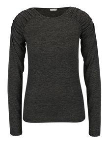 Tmavosivé melírované tričko s riasením na ramenách Jacqueline de Yong Adora