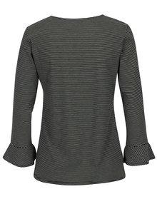 Černé pruhované tričko s volány Jacqueline de Yong Cloud