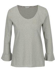 Krémové pruhované tričko s volánmi Jacqueline de Yong Cloud