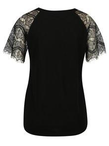 Černý top s krajkovými rukávy Jacqueline de Yong Minni