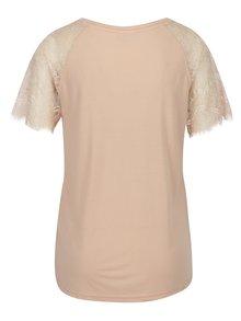 Světle růžový top s krajkovými rukávy Jacqueline de Yong Minni
