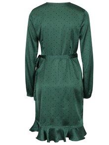 Tmavě zelené puntíkované zavinovací šaty VERO MODA Henna
