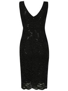 Černé krajkové šaty s flitry a překládaným výstřihem Scarlett B