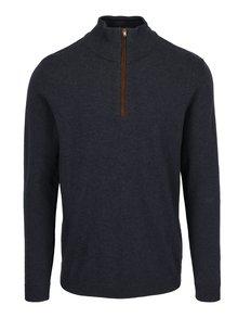 Tmavomodrý sveter so zipsom Selected Homme Jake