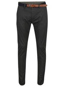 Tmavě šedé vzorované kalhoty Selected Homme Yard