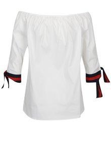 Bluza alba cu snururi pe maneci si decolteu pe umeri - Rich & Royal
