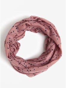 Růžový dutý šátek s potiskem Pieces Rowan