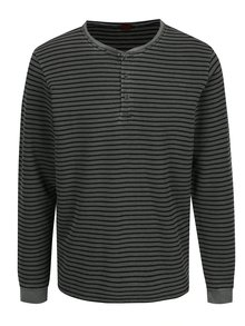 Šedé pánské pruhované tričko s knoflíky s.Oliver