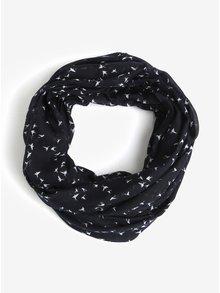 Tmavě modrý dutý šátek s potiskem Pieces Rowan
