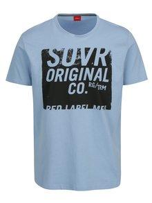Světle modré pánské tričko s potiskem s.Oliver
