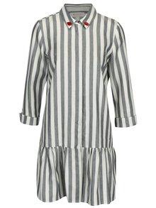 Modré pruhované šaty s volánem a příměsí lnu Rich & Royal