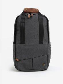 Tmavě šedý unisex voděodolný batoh s koženými detaily PKG