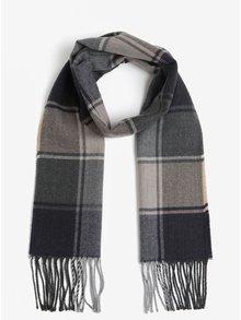 Sivo-modrý károvaný šál so strapcami Burton Menswear London