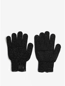Čierne melírované dotykové unisex rukavice Mujjo