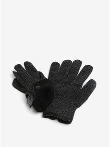 Čierne melírované hrejivé dotykové unisex rukavice Mujjo