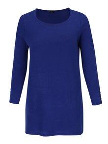 Modrý dlhý sveter s rozparkami M&Co Plus