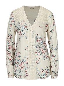 Bluza lejera crem cu broderie si print floral -  M&Co