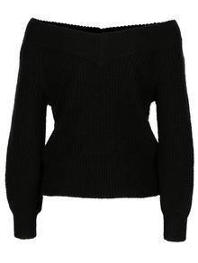 Pulover negru din amestec de lana cu maneci balon Miss Selfridge