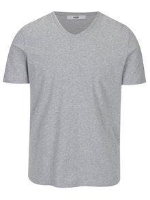 Šedé pánské tričko s véčkovým výstřihem Zagh