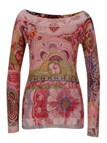 Ružový vzorovaný sveter s lodičkovým výstrihom Desigual Purpura