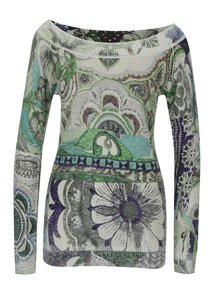 Sivý vzorovaný sveter s lodičkovým výstrihom Desigual Purpura