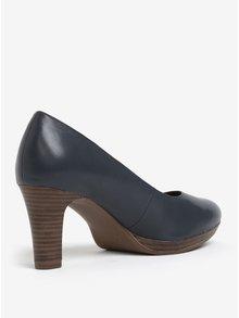Pantofi bleumarin din piele naturala cu toc inalt - Tamaris