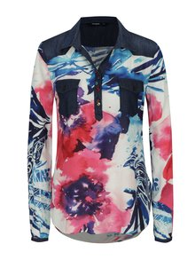 Bluza crem cu print abstract si detalii din denim Desigual Harmony Ala De Mariposa