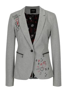Sivé melírované sako s výšivkou Desigual Mauricette