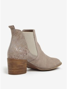 Béžové semišové chelsea topánky s kvetovanou potlačou Tamaris